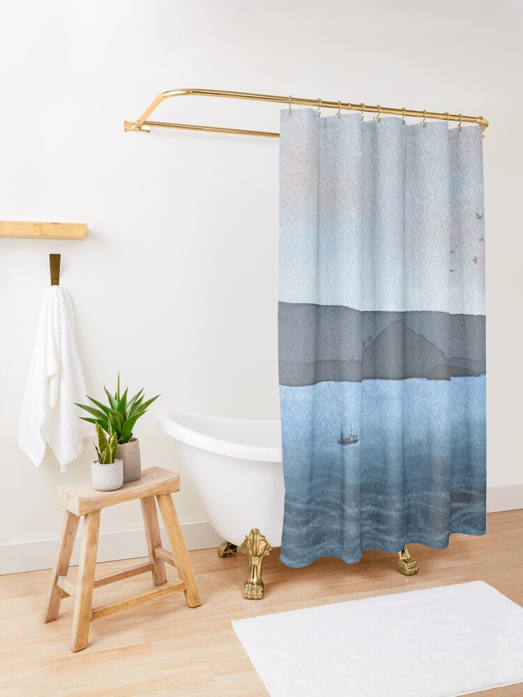 Alternate view of Berwick Law and Craig Leith, November 2018 Shower Curtain