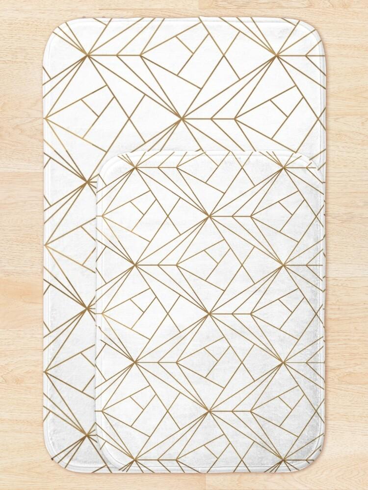 Alternate view of Gold Geometric Pattern  Bath Mat