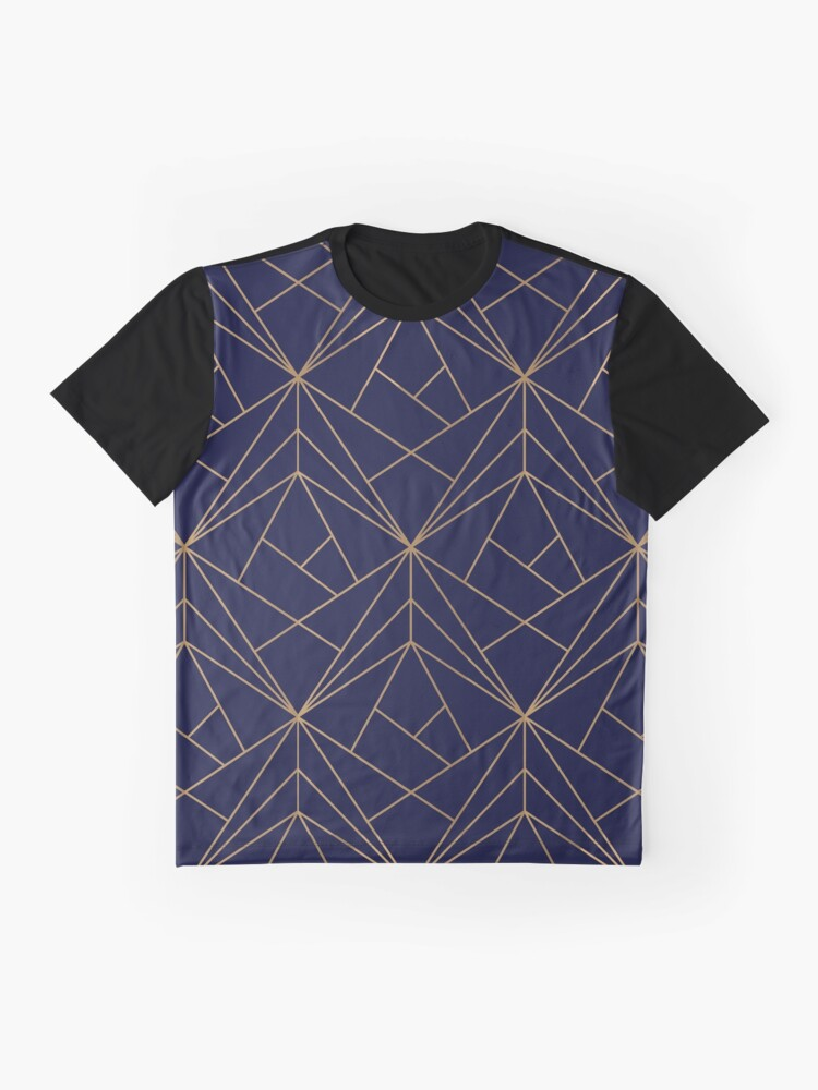 Alternate view of Navy Gold Geometric Pattern  Graphic T-Shirt