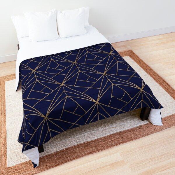 Navy Gold Geometric Pattern  Comforter