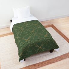 Green and Gold Geometric Pattern  Comforter