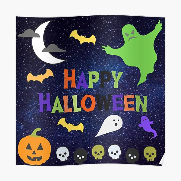 Ghostly Happy Halloween Poster