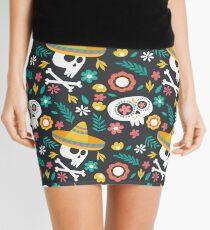 Halloween :  Skulls of the Day of the Dead pattern Mini Skirt