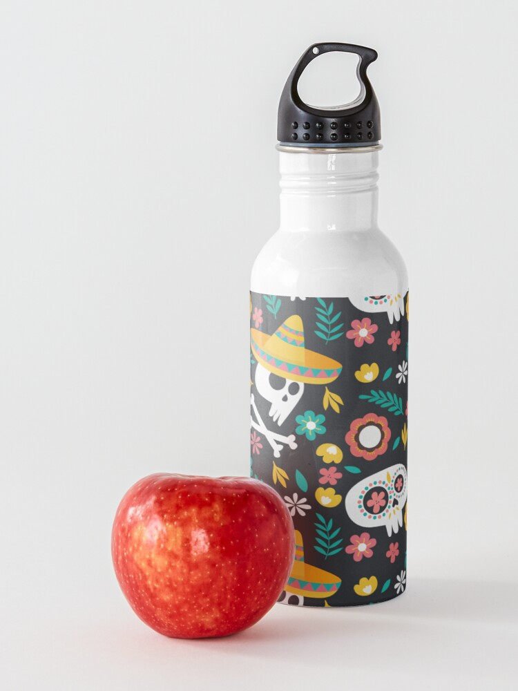 Alternate view of Halloween :  Skulls of the Day of the Dead pattern Water Bottle