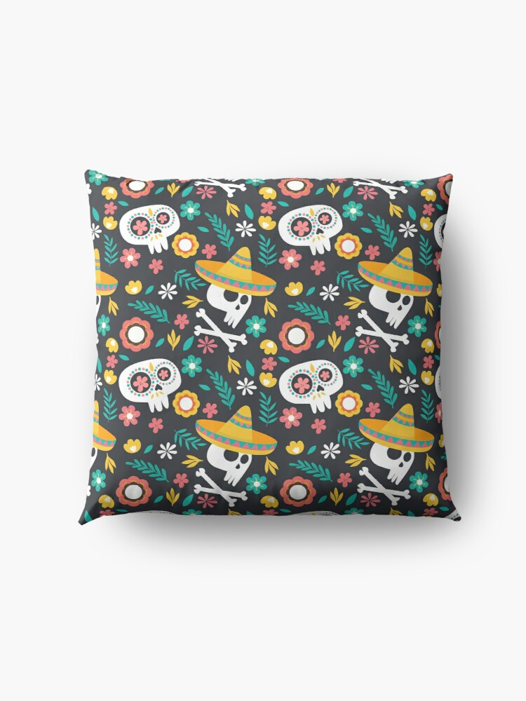 Alternate view of Halloween :  Skulls of the Day of the Dead pattern Floor Pillow