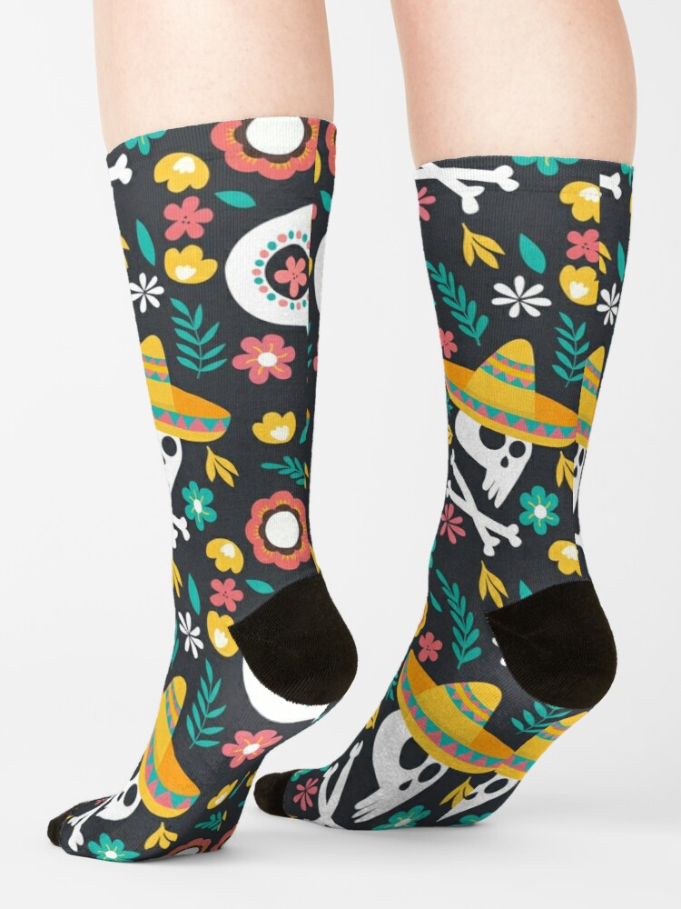 Alternate view of Halloween :  Skulls of the Day of the Dead pattern Socks