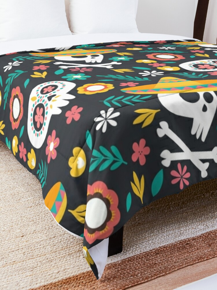 Alternate view of Halloween :  Skulls of the Day of the Dead pattern Comforter
