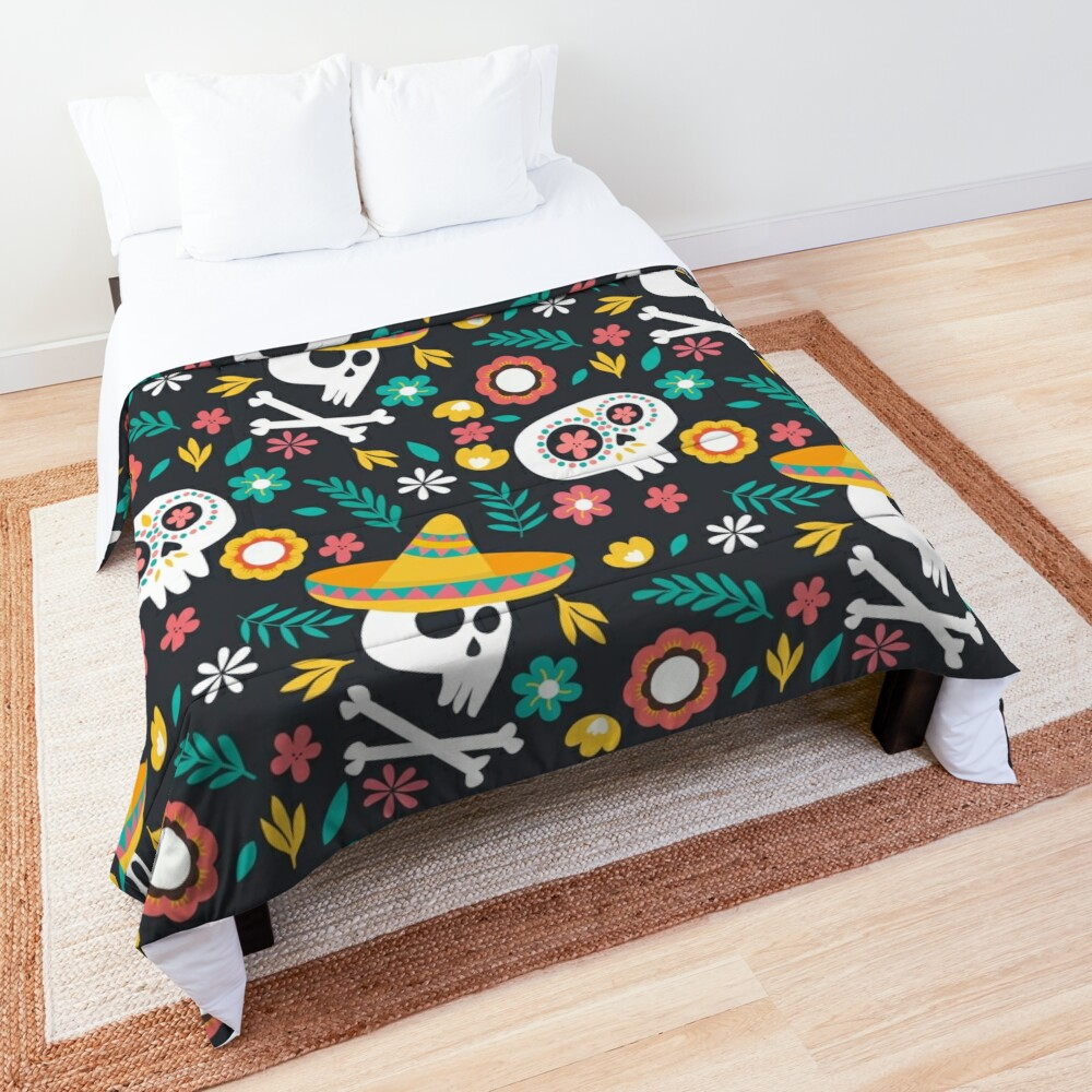Halloween :  Skulls of the Day of the Dead pattern Comforter