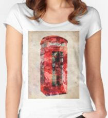 London Telephone Box Urban Art Women's Fitted Scoop T-Shirt