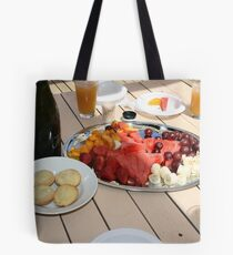 Christmas Breakfast On The Deck Tote Bag