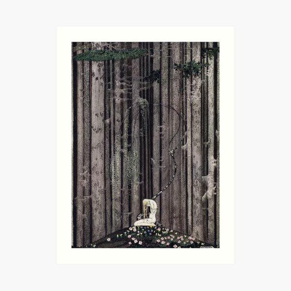 In the midst of the gloomy thick woods Art Print