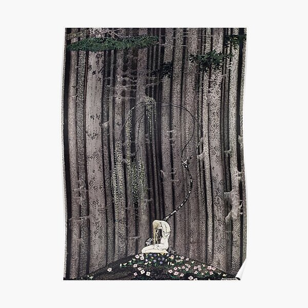 In the midst of the gloomy thick woods Poster