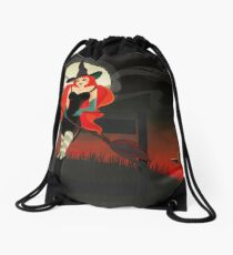 Beautiful Witch with a black Cat Drawstring Bag