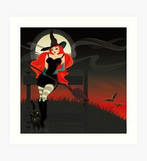 Beautiful Witch with a black Cat Art Print