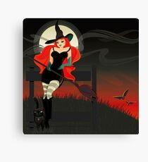 Beautiful Witch with a black Cat Canvas Print