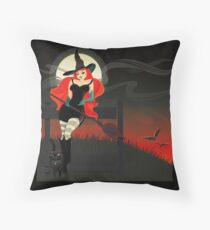 Beautiful Witch with a black Cat Floor Pillow
