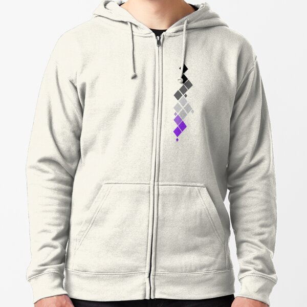 Abstract Diamonds (Black to Purple) Zipped Hoodie