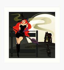 Pretty Witch. Halloween night. Art Print