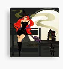 Pretty Witch. Halloween night. Canvas Print