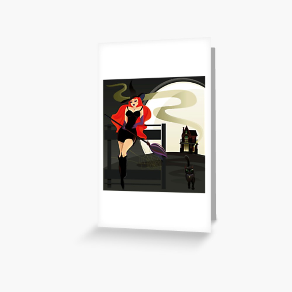Pretty Witch. Halloween night. Greeting Card