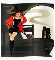 Pretty Witch. Halloween night. Poster