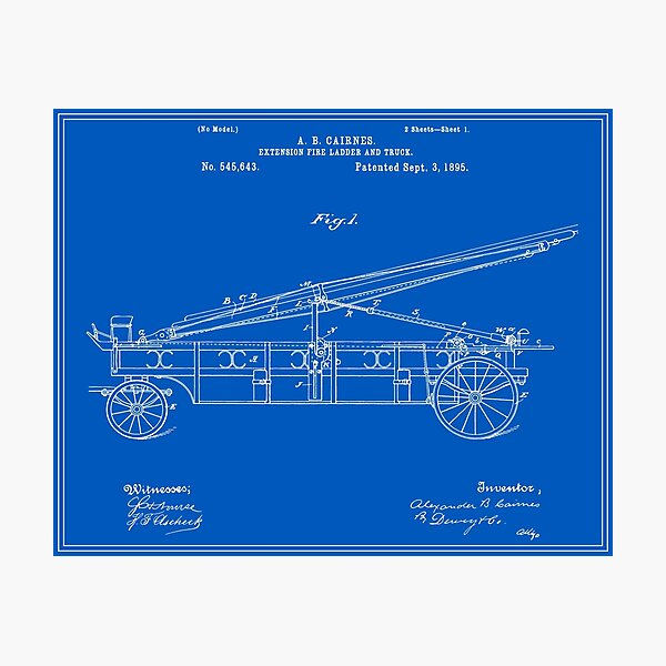 Official FIRST Fire Truck US Patent Art Print Vintage 1895 Cairnes Engine 11