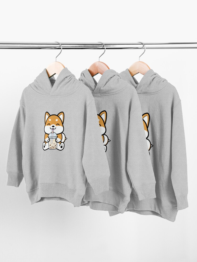 Alternate view of Shiba Loves Bubble Tea! Toddler Pullover Hoodie