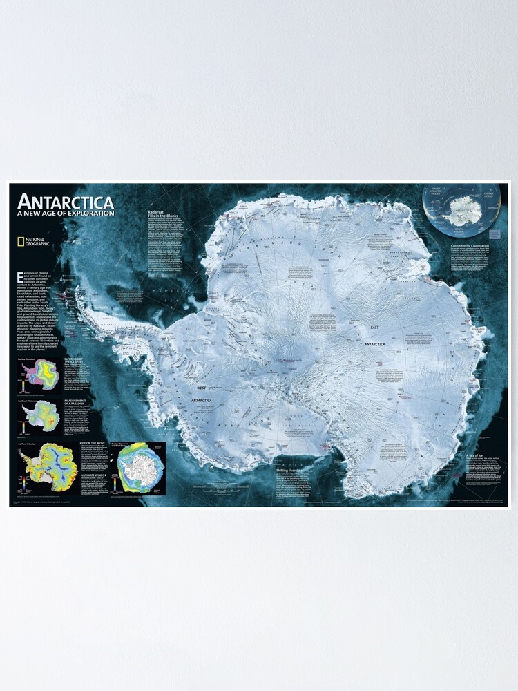 Alternate view of  Satellite map of Antarctica - Спутниковая карта Антарктиды Poster