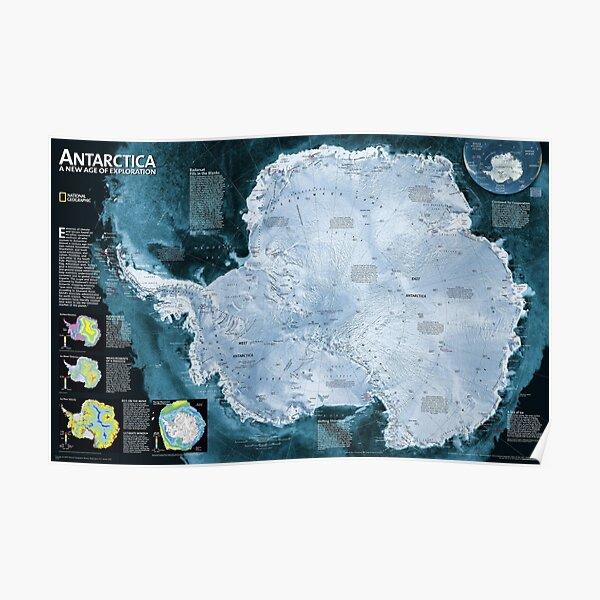 Print,  Satellite map of Antarctica - Спутниковая карта Антарктиды Poster