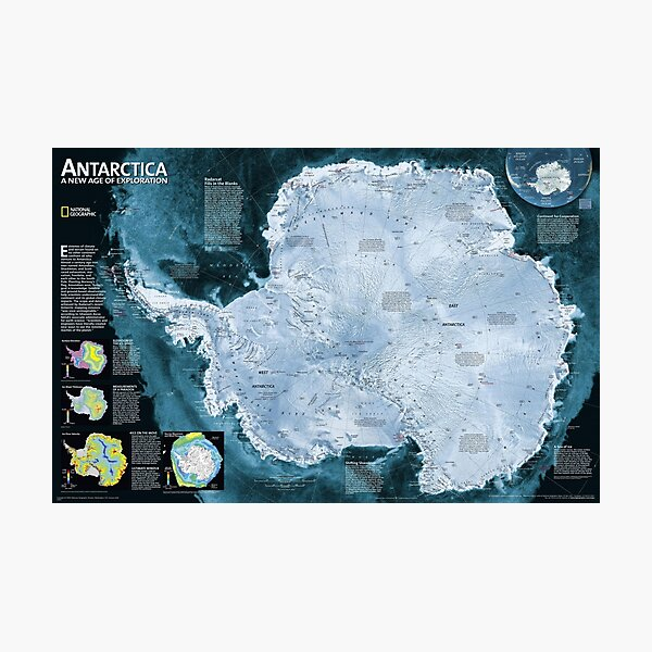 Satellite map of Antarctica - Спутниковая карта Антарктиды Photographic Print