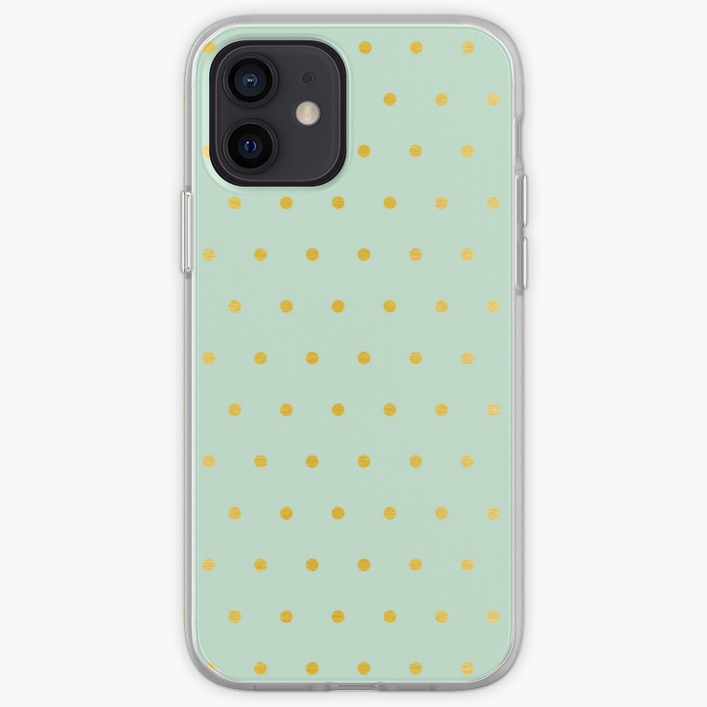 light mint gold dots iPhone Case & Cover