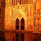 York Minster Portal by night by patjila