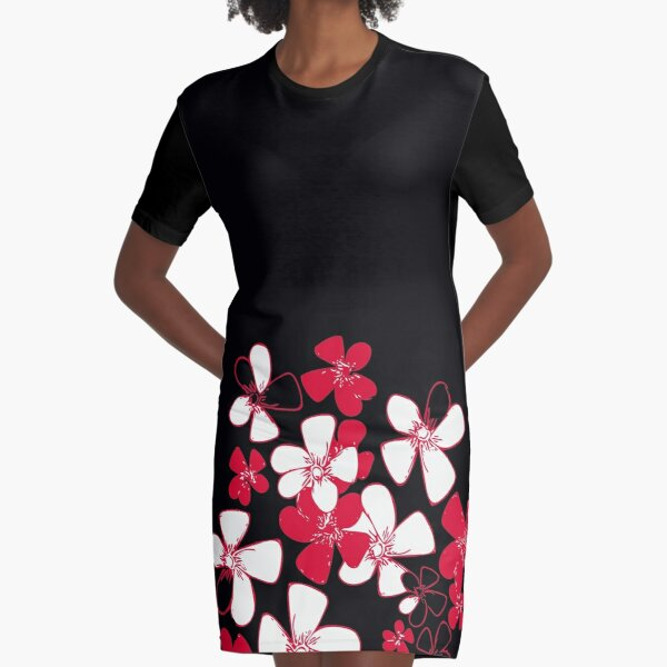 Pink White Flower Print Graphic T-Shirt Dress