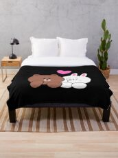 Brown bear and Cony in love Throw Blanket
