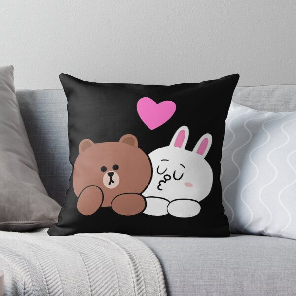 Brown bear and Cony in love Throw Pillow