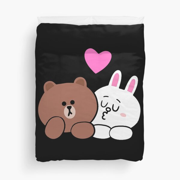 Brown bear and Cony in love Duvet Cover