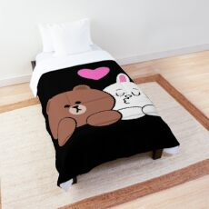 Brown bear and Cony in love Comforter