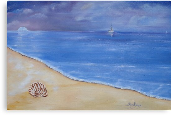 Quot Tranquil Evening Sky At The Beach Quot Canvas Prints By Kym