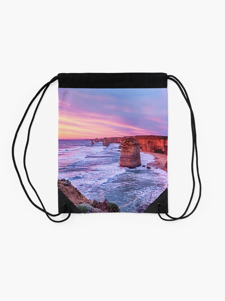 Alternate view of 12 Apostles at Sunset II Drawstring Bag