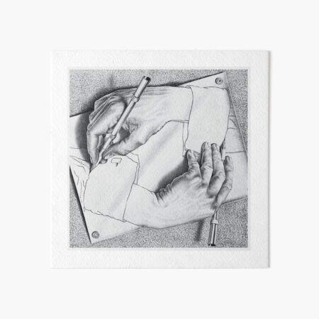 MC Escher Drawing Hands 1948 Artwork for Posters Prints Tshirts Men Women Kids Art Board Print