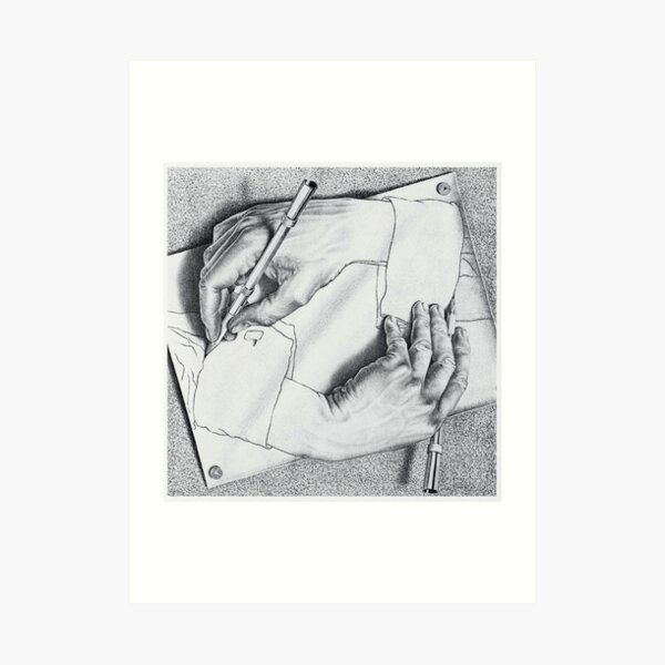 MC Escher Drawing Hands 1948 Artwork for Posters Prints Tshirts Men Women Kids Art Print