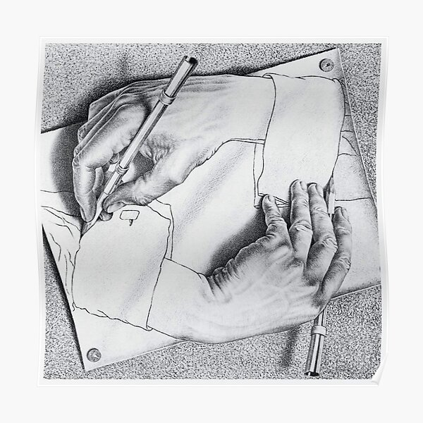 MC Escher Drawing Hands 1948 Artwork for Posters Prints Tshirts Men Women Kids Poster