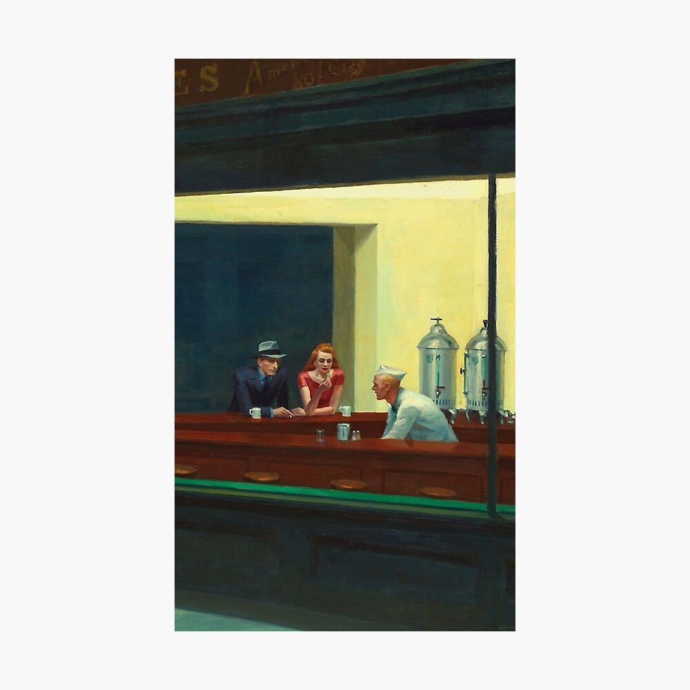 Vintage Edward Hopper Nighthawks Diner Poster By Johnzromero Redbubble