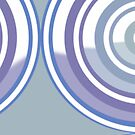 New System  Six Muted Pastel Blues and White Circular Abstract Design by Jenny Meehan by Jenny Meehan