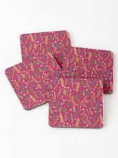 Pink field Coasters