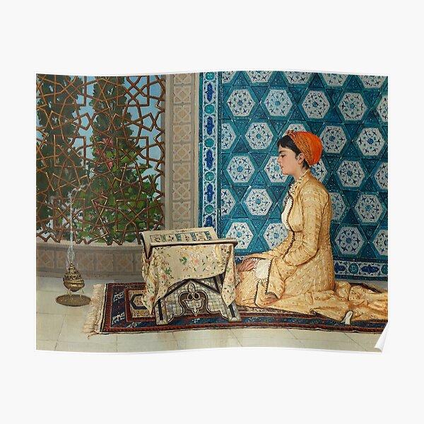 Young Woman Reading, Kur'an Okuyan Kız, Girl Reading Qu'ran, Osman Hamdi, Osman Hamdi Bey, Legendary Turkish Painting, Turkish, Painting Poster