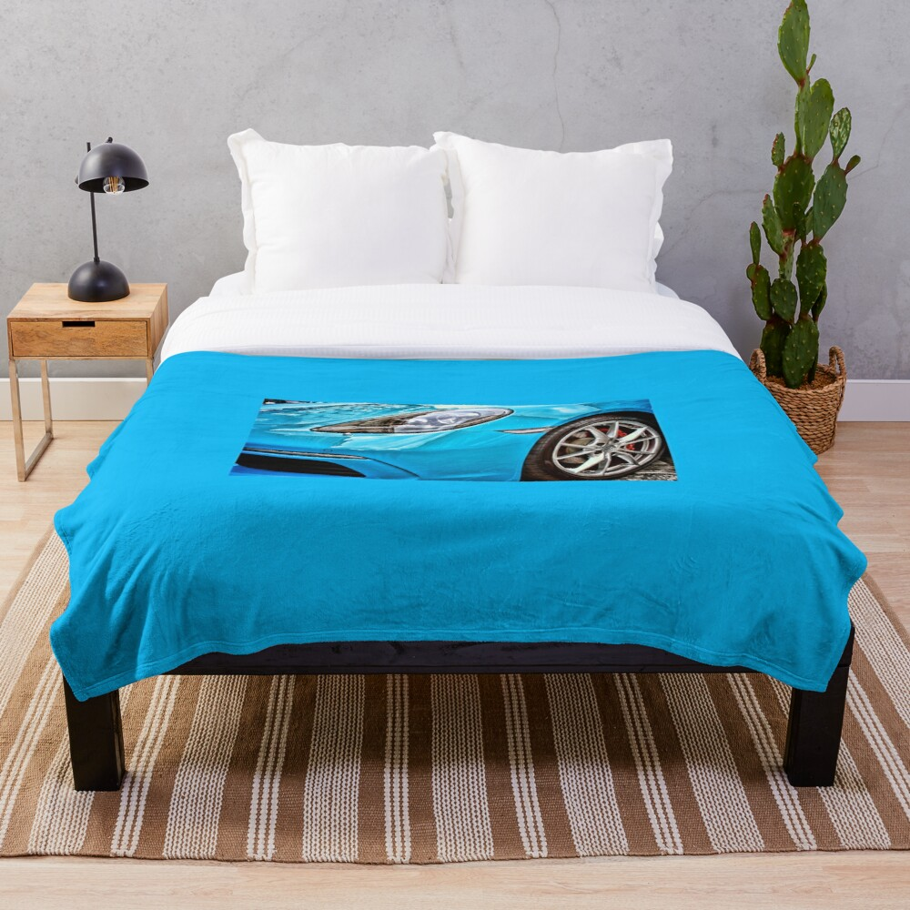 Blue Porsche Sports Car Front Throw Blanket