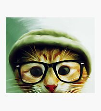 Vintage Cat Wearing Glasses Photographic Print