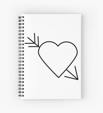 Black Heart Outline with Arrow Through It Spiral Notebook