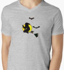 Halloween Witch and Bats Men's V-Neck T-Shirt